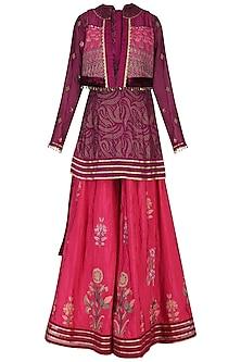 Wine embroidered kurta with sharara pants and jacket by SHASHANK ARYA