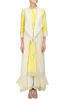 Lemon Chandeir Kurta, Pants and Jacket Set by Shashank Arya