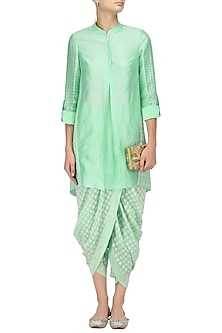 Mint Green Chanderi Brocade Kurta and Dhoti Pants Set by Shashank Arya