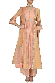Peach and Pale Yellow Striped Kalidaar Kurta and Pants Set by Shashank Arya