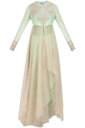 Mint Green Asymmetrical Kurta and Dhoti Pants Set by Shashank Arya