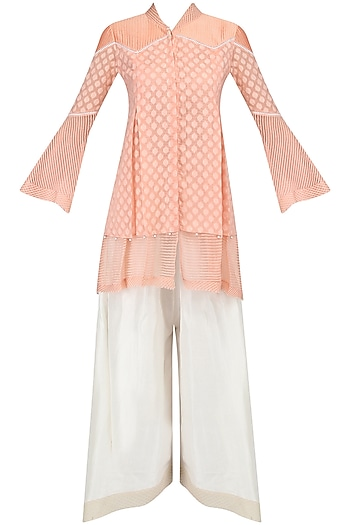 Peach Layered Tunic and Asymmetric Pants Set by Shashank Arya