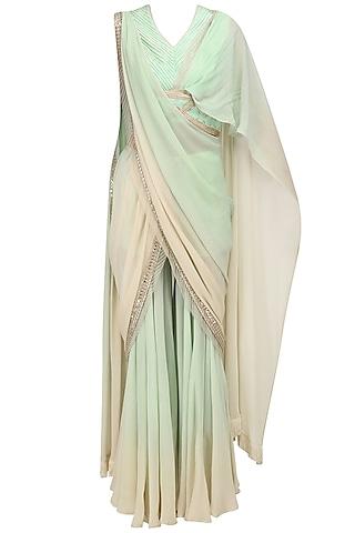 Mint Green Pant Saree and Blouse Set by Shashank Arya
