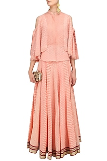 Peach Chanderi Brocade Lehenga Skirt and Cape Style Tunic Set by Shashank Arya