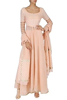 Peach Chanderi Brocade Kurta and Sharara Pants Set by Shashank Arya