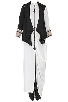 White Front Open Cowl Kurta with Embroidered Drape Gilet Set by Shashank Arya