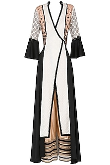 White and Black Color- Blocked Angrakha Kurta with Pants Set by Shashank Arya