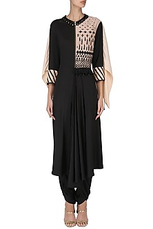 Black Front Pleated Kurta with Attached Wings and Pants Set by Shashank Arya