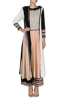 Black and White Color- Blocked Kurta with Pants Set by Shashank Arya
