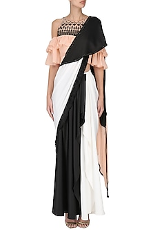 Black And White Saree with Ruffle Blouse Set by Shashank Arya