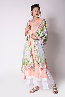 Peach Embroidered Kurta With Dupatta by Sage Saga