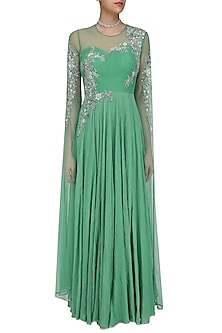 Green and Gold Floral Embroidered Cape Sleeved Gown by Swapan & Seema