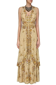 Beige Floral Sequins Embroidered Two Layered Gown by Swapan & Seema