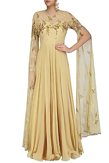 Beige and Gold Floral Embroidered Cape Sleeved Gown by Swapan & Seema