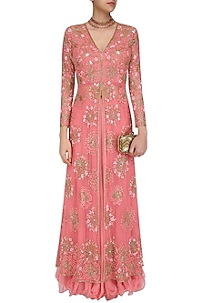 Pink Floral Sequins and Beads Embroidered Front Open Jacket and Skirt Set by Swapan & Seema