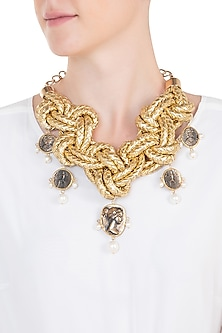 Gold plated coin necklace by BANSRI