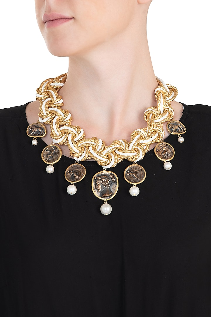Gold plated pearl coin necklace by BANSRI