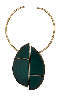Gold plated emerald collar tribal necklace by BANSRI