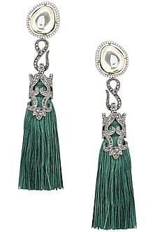 Gold plated emerald tassel earrings by BANSRI