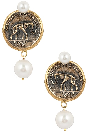 Rhodium plated vintage coin earrings by BANSRI