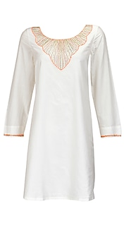 White kurti with metal pipe embroidery by Pia Pauro