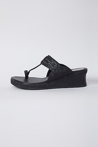 Black Faux Leather Low Wedges by stoffa bride