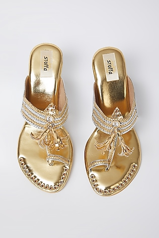Silver & Gold Kolhapuri Low Wedges by stoffa bride