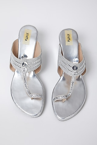 Silver Faux Leather Low Wedges by stoffa bride