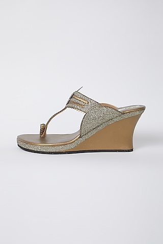 Antique Gold Faux Leather Wedges by stoffa bride