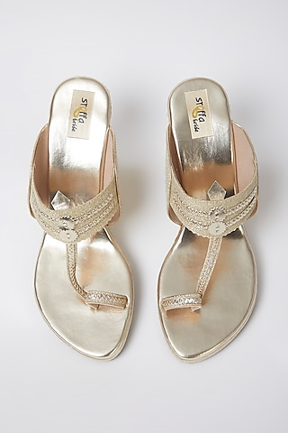 Light Gold Faux Leather Wedges by stoffa bride