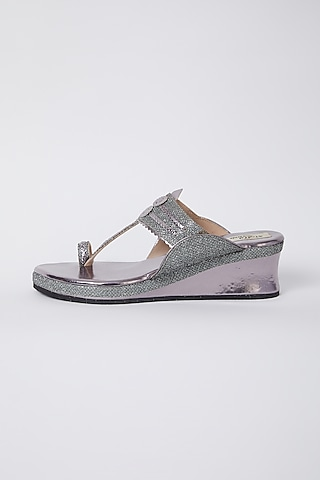Gunmetal Faux Leather Low Wedges by stoffa bride