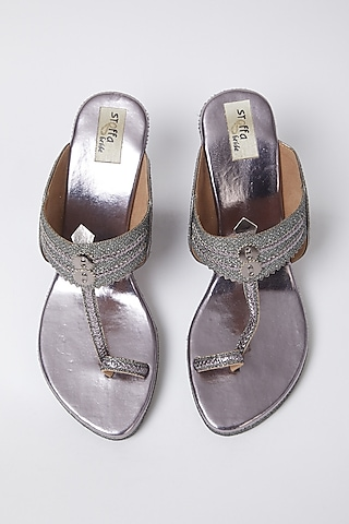 Gunmetal Faux Leather Wedges by stoffa bride