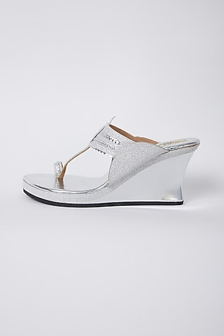 Silver Faux Leather Wedges by stoffa bride