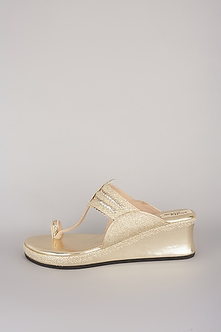Gold Metallic Wedges by stoffa bride
