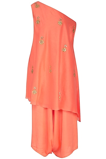 Peach Embroidered Cape Top With Dhoti Pants by The Silk Tree