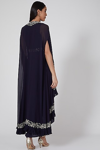 Midnight Blue Embellished Pleated Dress With Cape by Seema Thukral