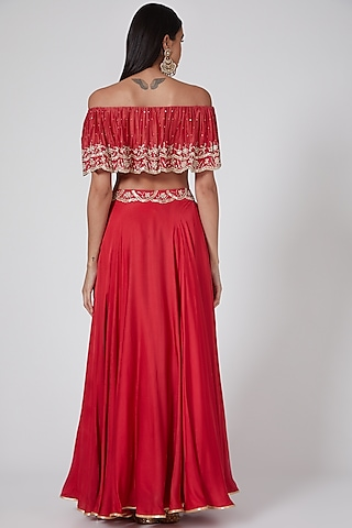 Fuchsia Embellished Circular Skirt Set by Seema Thukral