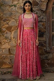 Fuchsia Pink Embellished & Printed Sharara Set by Seema Thukral