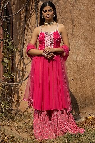 Fuchsia Pink Printed Sharara Set by Seema Thukral