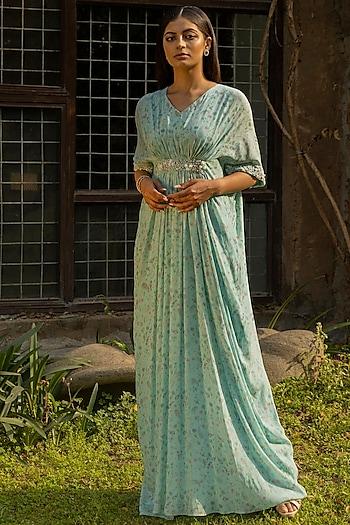 Mint Blue Printed & Hand Embellished Kaftan by Seema Thukral