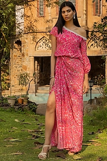 Fuchsia Pink Embellished Draped Dress by Seema Thukral