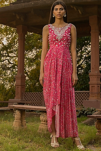 Fuchsia Pink Embellished Dress by Seema Thukral