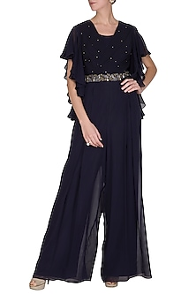 Midnight Blue Embroidered Jumpsuit by Seema Thukral