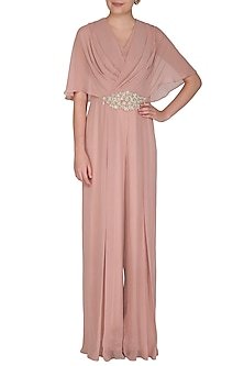 Dusty Pink Embroidered Drape Jumpsuit by Seema Thukral