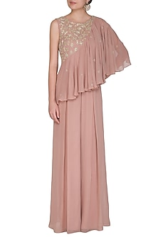 Dusty Pink Embroidered Ruffled Jumpsuit by Seema Thukral
