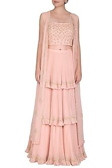 Pale Pink Embroidered Jacket Lehenga Set by Seema Thukral