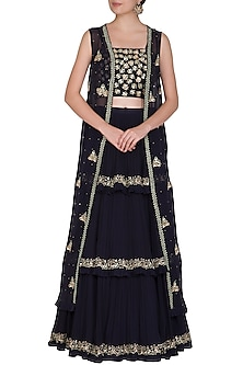 Midnight Blue Embroidered Jacket Lehenga Set by Seema Thukral