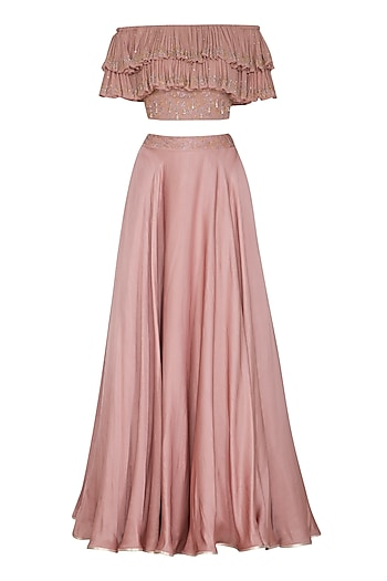 Dusty Pink Embroidered Blouse With Skirt by Seema Thukral