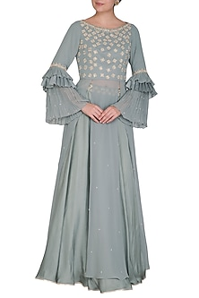 Pebble Green Embroidered Blouse With Skirt by Seema Thukral