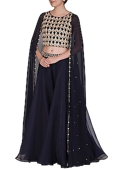Midnight Blue Embroidered Cape Style Top With Flared Pants by Seema Thukral